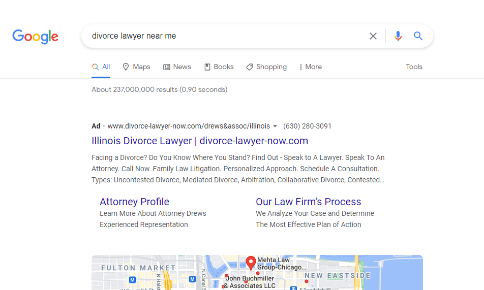 """Ad Preview for search """"divorce lawyer near me"""""""