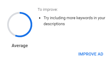 Picture of Google Average Ad Strength Improvement Suggestions