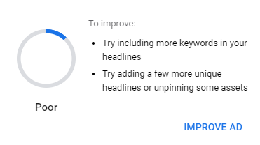Picture of Google Ads Poor Ad Strength Improvement Suggestions